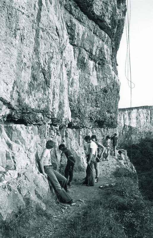 Left unknown, Paul Cropper gearing up, Tom Proctor and Mark Stokes on Windy Ledge in 1977. (Brian Cropper).