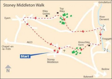 Map Stoney Middleton walk to  Eyam and back